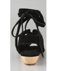 Loeffler Randall - Black Roni Suede Lace Up Sandals - Lyst
