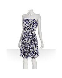 Gucci | Blue Floral Silk Strapless Tie Detail Dress | Lyst