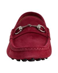Gucci - Red Burgundy Suede Horsebit Detail Driving Loafers for Men - Lyst
