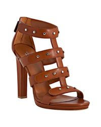 Gucci | Brown Cognac Leather Suede Studded Sigourney Platform Sandals | Lyst