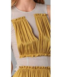Opening Ceremony | Yellow Mesh Dress Wtih Gathered Detail | Lyst