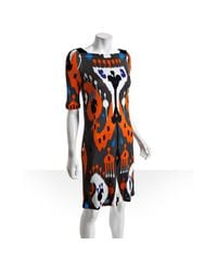 Gucci | Orange Ikat Jersey Boat Neck Dress | Lyst
