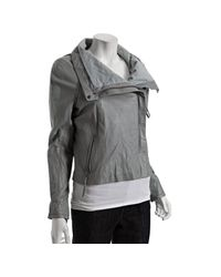 June | Gray Grey Crinkled Lambskin Leather Asymmetrical Jacket | Lyst
