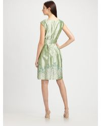 Kay Unger - Green Embroidered Silk Dupioni Dress - Lyst
