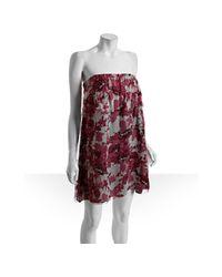 Miu Miu | Pink Rose Floral Print Silk Chiffon Strapless Dress | Lyst