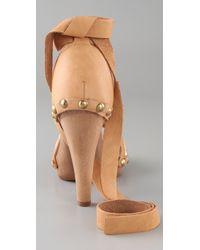 RED Valentino - Brown Wooden Platform Sandals - Lyst