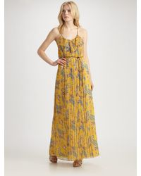 Tibi | Yellow Chiffon Paisley Maxi Dress | Lyst