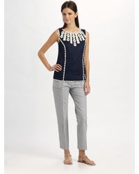 Tory Burch | Blue Dulcie Seersucker Pants | Lyst
