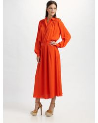 Tory Burch | Orange Silk-georgette Shirt Dress | Lyst