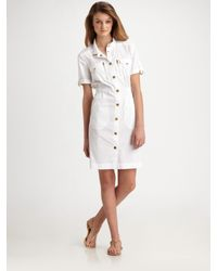 Tory Burch | White Rebecca Soft Stretch Poplin Dress | Lyst