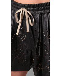 3.1 Phillip Lim | Black Laser Cut Leather Shorts | Lyst
