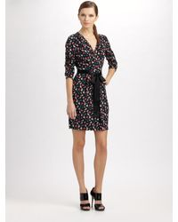 DKNY | Black Floral-print Stretch-silk Dress | Lyst