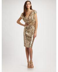 St. John | Metallic Sequined Tulle Cowl-neck Dress | Lyst
