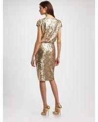 St. John   Metallic Sequined Tulle Cowl-neck Dress   Lyst