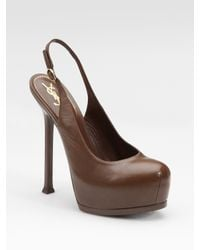 Saint Laurent | Brown Tribtoo Platform Slingback Pumps | Lyst