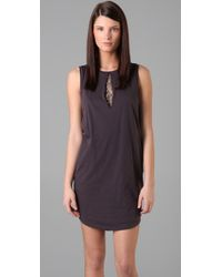 3.1 Phillip Lim | Gray T Shirt Dress with Rhinestone Keyholes | Lyst