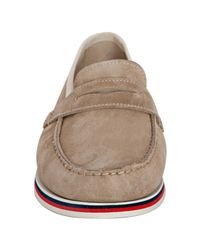 Moncler | Natural Sand Suede Club 55 Trimmed Loafers for Men | Lyst