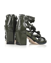 Alexander Wang - Green Tilda Knotted Suede and Leather Sandals - Lyst