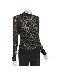 BCBGMAXAZRIA | Black Floral Lace Mock Neck Top | Lyst