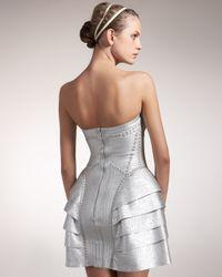 Hervé Léger   Metallic Strapless Runway Dress   Lyst