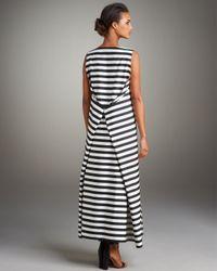 Jil Sander | Black Striped Pleat-back Maxi Dress | Lyst