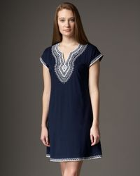 Oscar de la Renta | Blue Short Evening Oasis Gown | Lyst