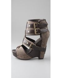 Ash - Brown Military Canvas and Leather Lyn Buckle Wedge Sandals - Lyst
