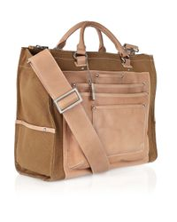 DKNY - Brown Leather and Cotton-canvas Tote - Lyst