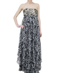 Jay Ahr | Black Strapless Sequined Bust Chiffon Dress | Lyst