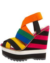 Prada - Multicolor Elastic Stripe Wedge - Lyst