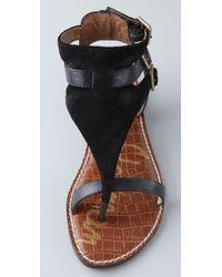 Sam Edelman | Black Grenna Suede Flat Sandals | Lyst