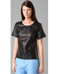 3.1 Phillip Lim - Black Laser Cut Leather T Shirt - Lyst