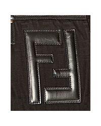Fendi - Black Zucca Nylon Leather Logo Duffle Bag for Men - Lyst