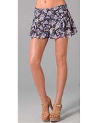 Free People Blue Pleat Shorts