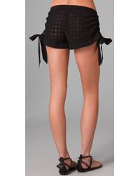 OndadeMar - Black Bohemian Cover Up Shorts - Lyst