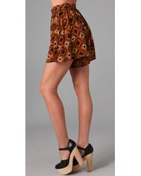Opening Ceremony - Brown Silk Culotte Shorts - Lyst