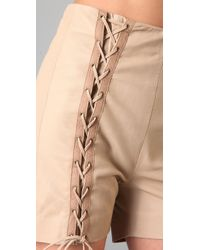 Opening Ceremony - Pink Lace Up Leather Shorts - Lyst