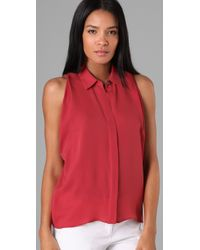 Theory | Red Copelan Blouse | Lyst