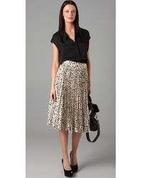 Tucker - Black Pleated Knee Length Skirt - Lyst