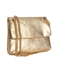 Elie Tahari | Gold Metallic Cork Cynthia Chain Shoulder Bag | Lyst