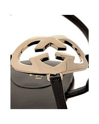Gucci - Black Patent Lovely Thong Flat Sandals - Lyst