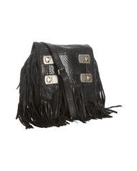 Jimmy Choo | Black Leather and Snakeskin Adele Crossbody Bag | Lyst