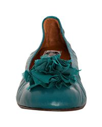 Lanvin | Blue Teal Leather Floral Detail Ballet Flats | Lyst