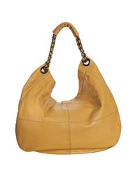 Vince Camuto - Yellow Mustard Pebbled Leather Chain Hobo Bag - Lyst