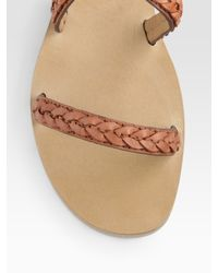 Chloé - Brown Braided Leather Flat Sandals - Lyst