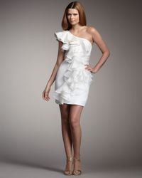 Notte by Marchesa | White One-shoulder Ruffle Dress | Lyst