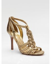 Tory Burch | Metallic Braided Leather Sandals | Lyst