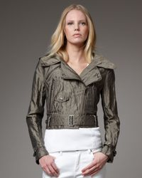 Burberry | Gray Metallic Taffeta Cropped Jacket | Lyst