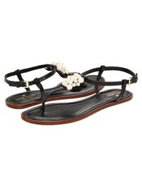 kate spade new york | Black Hedy Pearl Thong Sandals | Lyst