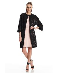 Oscar de la Renta | Black Embroidered Coat | Lyst